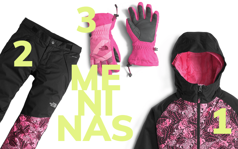 1. jaqueta Brianna Insulated / 2. Calça Freedom Insulated / 3. Luva Revelstoke Etip