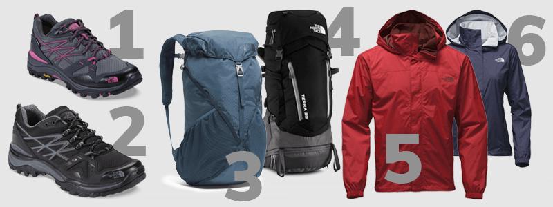 1. Tênis Hedgehog Fastpack GTX Feminino / 2. Tênis Hedgehog Fastpack Masculino / 3. Mochila Diad Pro 22 / 4. Cargueira Terra 35 / 5. Jaqueta Resolve Masculina / 6. Jaqueta Resolve Feminina